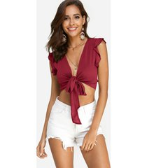 red lace-up design v-neck sleeveless crop top