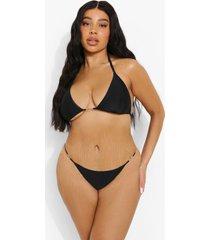 plus driehoekige ofcl bikini top met zoom detail, black