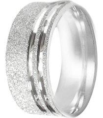aliança prata mil risco na lateral de prata fosca prata