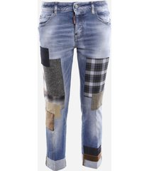 dsquared2 cropped stretch cotton jeans with patchwork details