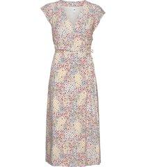 wrap-front midi dress knälång klänning multi/mönstrad gap
