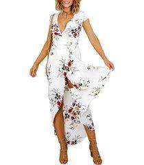 vestido con cuello en pico y vestido de playa dividido - blanco
