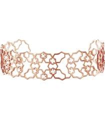 bracciale bangle small in ottone rosato e zirconi per donna