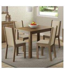 conjunto sala de jantar madesa cíntia mesa tampo de madeira com 4 cadeiras rustic/crema/pérola rustic