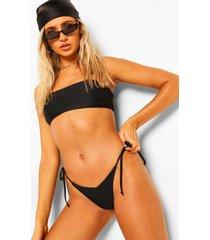 essentials bikini broekje met v-taille en zijstrikjes, zwart