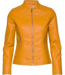 onlmelisa faux leather jacket cc otw läderjacka skinnjacka gul only