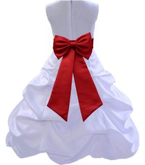 white flower girl dress pageant formal bubble pick-up wedding bridesmaid 808t