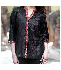 cotton and silk blouse, 'black shimmer' (india)