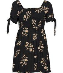ae floral tie-sleeve smocked mini dress kort klänning svart american eagle