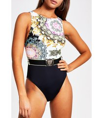 river island womens yellow printed belted high neck swimsuit