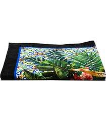 dolce & gabbana toalha de praia com estampa de zebra e plantas - verde