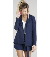 blazer feminino com bolsos em linho azul marinho