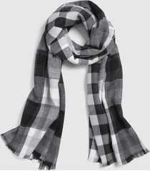 lane bryant women's reversible black & white plaid scarf onesz black