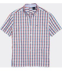 tommy hilfiger men's adaptive seated fit plaid short sleeve shirt exotic coral/multi - xl