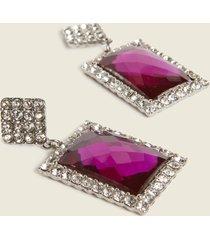 motivi orecchini color argento con pietra gioiello viola donna grigio
