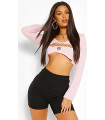 'missouri' underbust shaped graphic crop top, pink