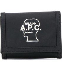 a.p.c. logo printed foldover wallet - black
