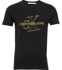 3d monogram slim tee t-shirts short-sleeved svart calvin klein jeans