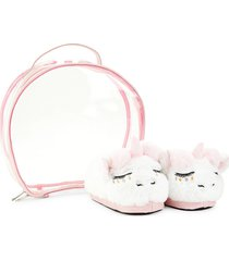under one sky baby's 2-piece unicorn faux fur slippers & case set - white
