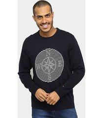 blusa tommy hilfiger compass graphic sweater manga longa masculina