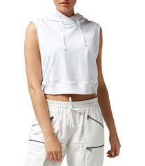 blanc noir women's mesh back sleeveless hoodie - white - size l