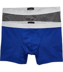 men's hanro cotton essentials 2-pack boxer briefs, size small - metallic