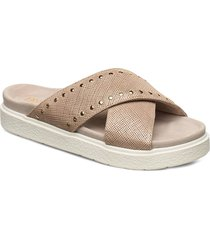 inuikii slipper crossed studs shoes summer shoes flat sandals beige inuikii