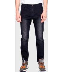 jeans ellus rock 71 largo techno negro - calce ajustado