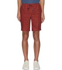 drawstring waist linen shorts