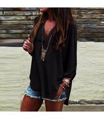zanzea verano las mujeres con cuello en v manga larga ol trabajo normal ladies tops blusa de la camisa suéter más del tamaño -negro