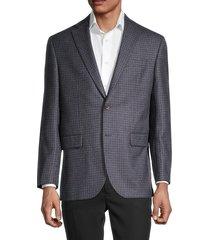 saks fifth avenue men's classic-fit plaid merino wool sport coat - brown blue - size 42 s