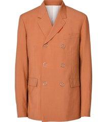 burberry slim fit press-stud wool tailored jacket - orange