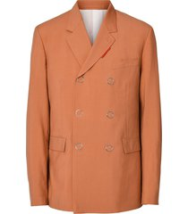 burberry slim fit press-stud wool tailored jacket - orange