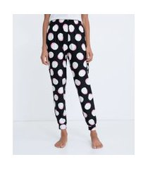 calça de pijama jogger com estampa de bolas toque suave | lov | preto | p
