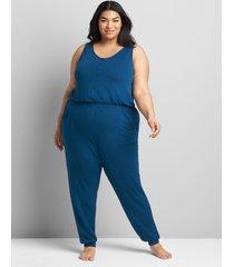 lane bryant women's french terry sleep jumpsuit 26/28 poseidon blue