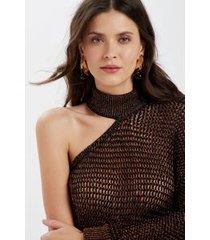 top tricot um ombro gola preto c/ luxex cobre