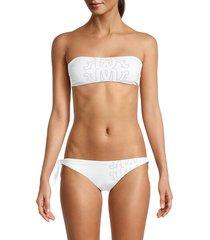roberto cavalli 2-piece print bandeau bikini set - natural - size l