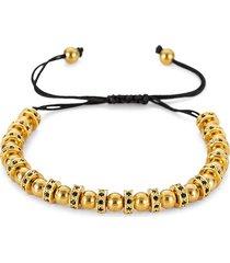 eye candy la men's landon titanium & cubic zirconia bead bracelet