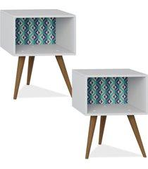 kit 02 mesa de cabeceira lyam decor retrã´ estampa azul - azul - dafiti