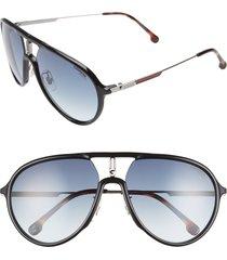 carrera eyewear 59mm aviator sunglasses in black ruthenium/blue at nordstrom