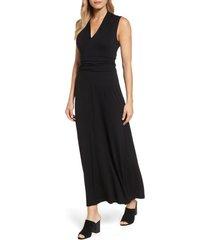women's vince camuto v-neck maxi dress, size x-small - black
