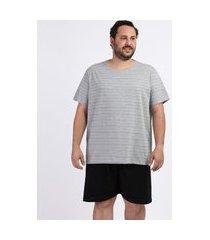 pijama masculino plus size camiseta estampada listrada manga curta gola careca cinza mescla