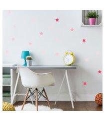 adesivo de parede quartinhos infantil estrelas rosa