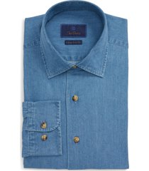 men's david donahue trim fit denim dress shirt