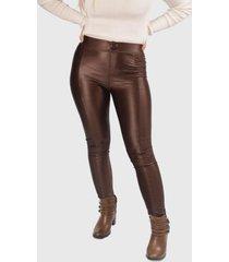 calça benne legging com recorte marrom