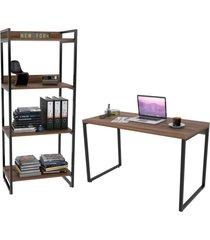 conjunto escritório estilo industrial mesa 120cm e estante 60cm 4 prateleiras prisma nogal - mpozenato