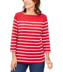 karen scott petite striped boatneck t-shirt, created for macy's
