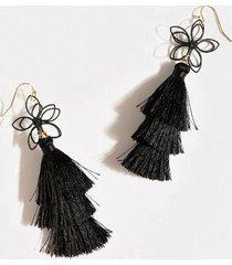 katlyn floral tiered tassel earrings - black
