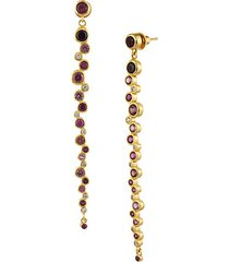 24k yellow gold, red & pink ruby drop earrings