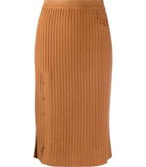 bally ribbed knit midi skirt - brown